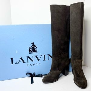Lanvin Knee High Suede Pull-On Boots